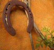 Horseshoe on the orange wall, good luck Stock Images