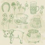 Horseshoe, pot of gold, shamrocks, Irish hat, pig, beer mug. Royalty Free Stock Photos