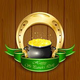 Horseshoe and pot with golden coins. Shiny horseshoe and pot with leprechauns golden coins on wooden background, illustration Stock Illustration