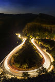 Horseshoe roadway at night. With light trails in Rowena Crest, Oregon Stock Photography