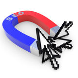 Horseshoe SEO magnet attracts arrow cursors. Royalty Free Stock Photo
