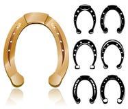 Horseshoe set. With symbol silhouettes Royalty Free Stock Image