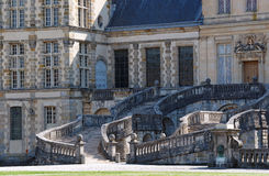 Horseshoe staircase of the chateau de Fontainebleau Stock Photos