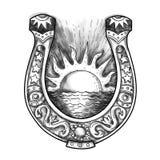 Horseshoe Sun and Sea Tattoo Stock Photography