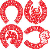 Horseshoe symbol designs set Royalty Free Stock Photo