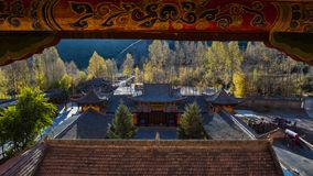 The Horseshoe Temple. Is located in the Sunan Yugu Autonomous County of Gansu, China. It is 65 kilometers away from the urban area of Zhangye City in the north stock images