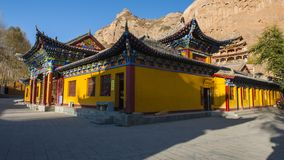 The Horseshoe Temple. Is located in the Sunan Yugu Autonomous County of Gansu, China. It is 65 kilometers away from the urban area of Zhangye City in the north stock image