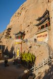 The Horseshoe Temple. Is located in the Sunan Yugu Autonomous County of Gansu, China. It is 65 kilometers away from the urban area of Zhangye City in the north stock photo