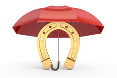 Horseshoe with umbrella, protect your luck. 3D rendering Royalty Free Stock Image