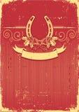 Horseshoe on vintage red christmas  Stock Image