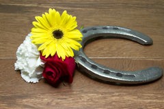 Horseshoe on Wood with Three Flowers of the Triple Crown. Three flowers of the triple crown - Kentucky Derby red rose, Preakness Stakes black eyed susan and Royalty Free Stock Photos