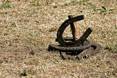 Horseshoes. Lucky metal horseshoes after game Royalty Free Stock Images