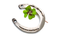 Free Horseshoes And Clover With Four Leaf Royalty Free Stock Photo - 45000755