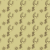 Horseshoes  and dollar seamless pattern background. Hand drawing Royalty Free Stock Photography