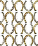 Horseshoes pattern in golden and silver colors Royalty Free Stock Image
