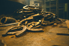Horseshoes. Recently forged by blacksmith Royalty Free Stock Photography