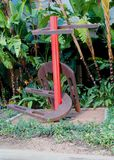 Horseshoes. Red stake brown horseshoes Stock Images