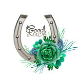 Horseshoes in silver color with succulent design. Talisman for good luck. Vector design elements isolated on white background stock illustration