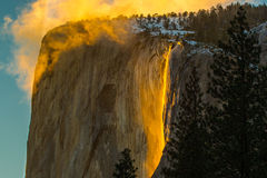 Horsetail Falls. Firefall Flowing From El Capitan At Sunset, Yosemite National Park, California Royalty Free Stock Photos