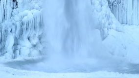 Horsetail Falls Frozen in Winter along Columbia River Gorge Portland Oregon 1080p Closeup Royalty Free Stock Photography