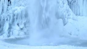 Horsetail Falls Frozen in Winter along Columbia River Gorge Portland Oregon 1080p Closeup stock video footage