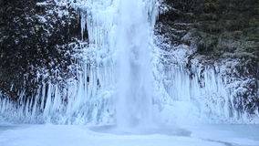 Horsetail Falls Frozen in Winter along Columbia River Gorge Portland Oregon 1080p stock footage