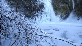 Horsetail Falls Frozen in Winter along Columbia River Gorge Portland Oregon 1080p. Horsetail Falls Frozen in Winter along Columbia River Gorge Portland Oregon stock footage