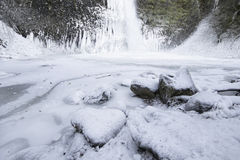 Horsetail falls Frozen in Winter Royalty Free Stock Image