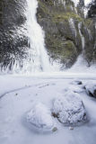 Horsetail falls Frozen in Winter Vertical Royalty Free Stock Images