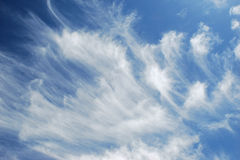 Horsetail or Mares tail clouds over Las Vegas, Nevada. Image shows Horsetail, or Mares tail, clouds over Las Vegas, Nevada. This is a type of cirrus cloud. The stock images