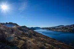 Horsetooth behållare, Fort Collins, Colorado i vinter Fotografering för Bildbyråer