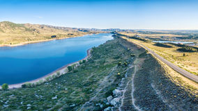 Horsetooth Reservoir aerial panorama Royalty Free Stock Images