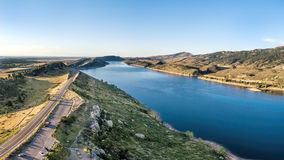 Horsetooth Reservoir aerial panorama Stock Image