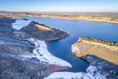 Horsetooth Reservoir aerial view. Aerial view of Horsetooth Reservoir at foothills of Rocky Mountain bear Fort Collins, Colorado, winter scenery Stock Photo