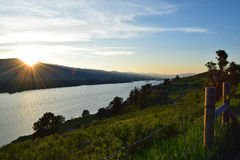 Horsetooth Reservoir at sunset. Dreamy sunset over the mountains and lake Royalty Free Stock Images