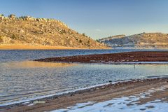 Horsetooth Reservoir in winter stock images