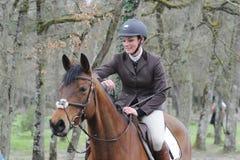 Horsewoman в скакать выставки Стоковое Фото