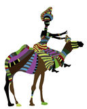 Horsewoman. Woman in ethnic style, sitting on the camel's back on a white background Royalty Free Stock Photo