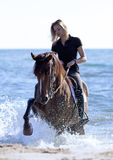 Horsewoman on the beach Royalty Free Stock Photos