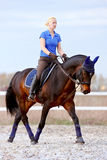 The horsewoman on a brown horse. Goes at a trot Royalty Free Stock Photo