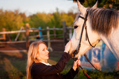 Horsewoman at hippodrome and blue sky Stock Photography
