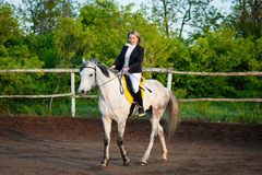 Horsewoman at hippodrome Stock Photography