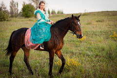 Horsewoman riding. Royalty Free Stock Photography