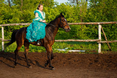 Horsewoman riding. Stock Image