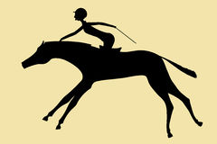 The horsewoman skips on a horse. The vector, silhouette, the horsewoman skips on a horse Stock Images
