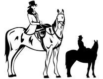 Horsewoman vector. Elegant aristocratic woman riding a horse Stock Images