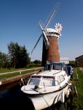Horsey wind pump. Norfolk,UK, boat on the broads Royalty Free Stock Image