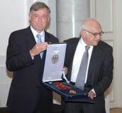Horst Koehler, historicus Fritz Stern royalty-vrije stock afbeelding