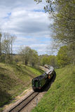 HORSTED KEYNES, SUSSEX/UK - APRIL 13 : Flying Scotsman on the Bl. Uebell Line near Horsted Keynes in Sussex on April 13, 2017. Unidentified people royalty free stock photos