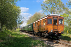 HORSTED KEYNES, SUSSEX/UK - APRIL 13 : Flying Scotsman on the Bl. Uebell Line near Horsted Keynes in Sussex on April 13, 2017. Unidentified people stock photography